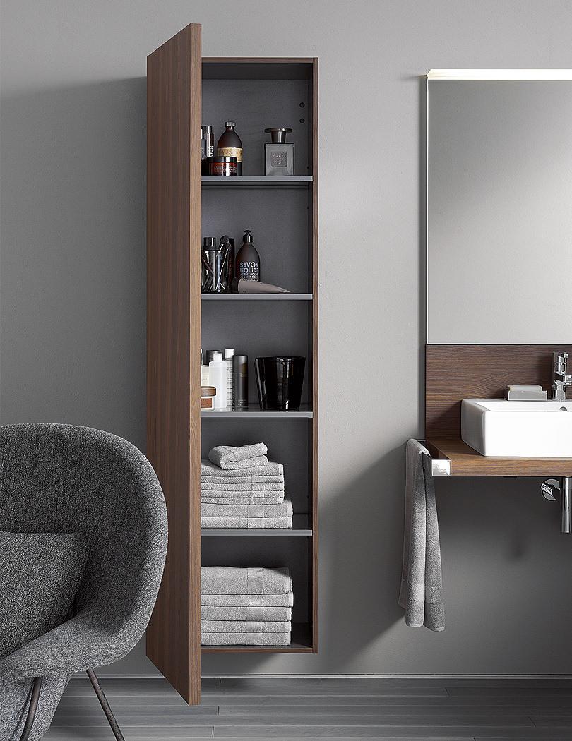 & Duravit Delos 500 x 250mm Brushed Oak Tall Cabinet