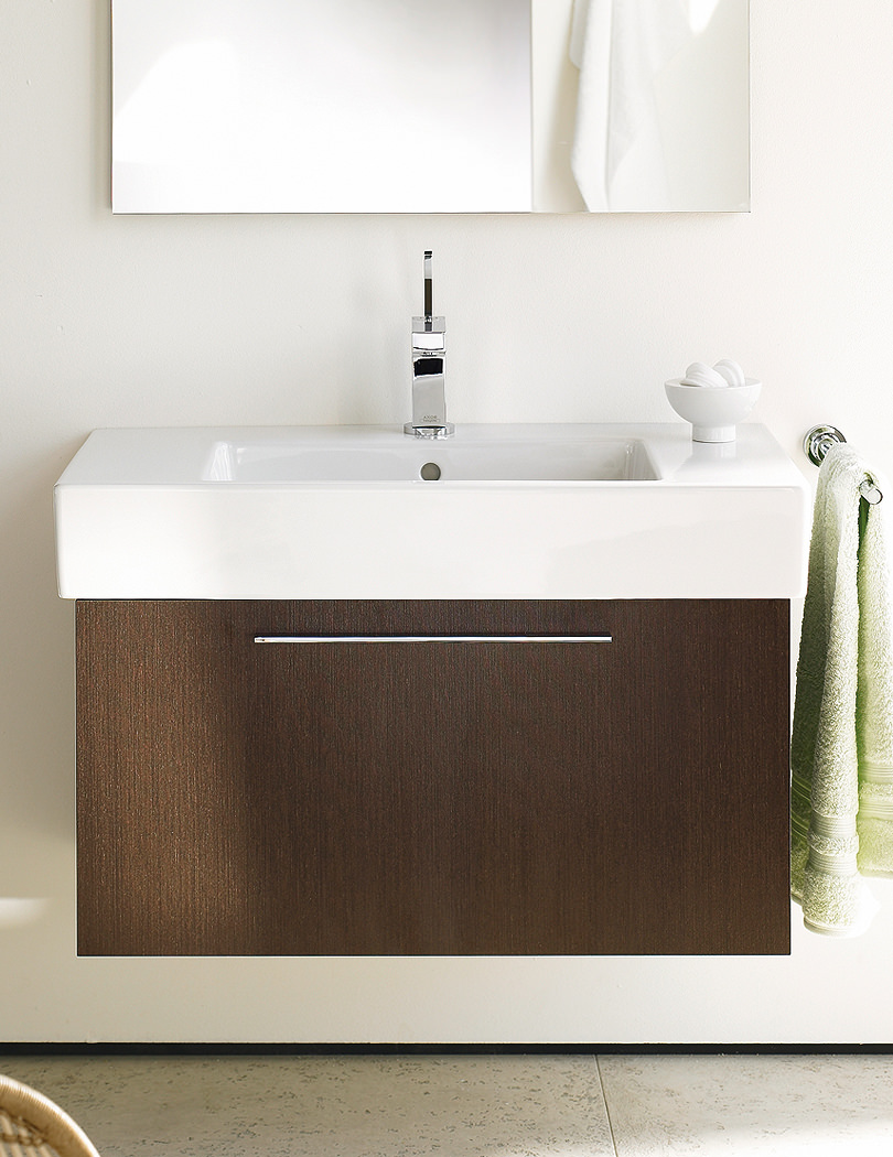 X Large Chestnut Dark Vanity Unit With Basin