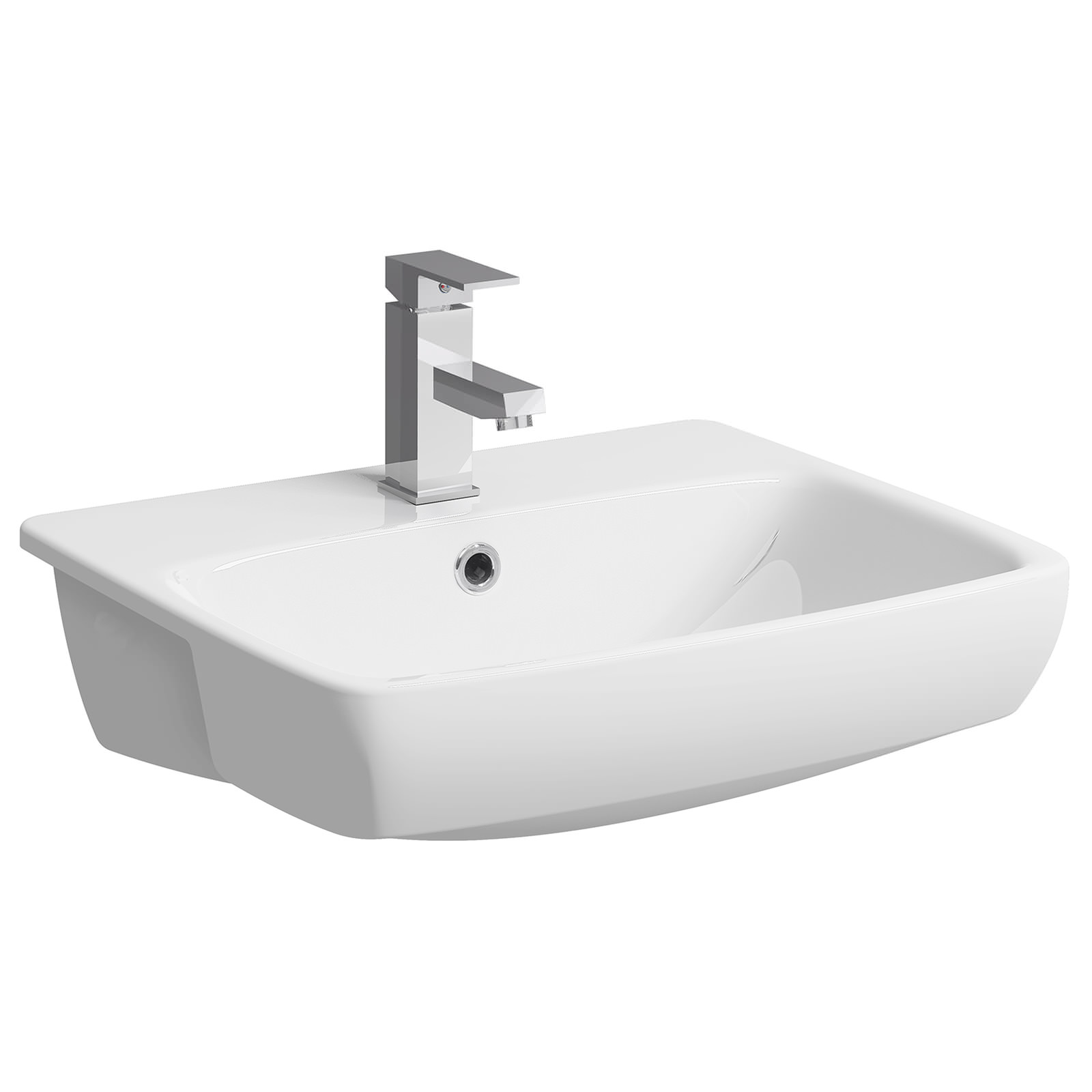 550mm 1 Tap Hole White 55cm Ideal Standard Concept Sphere Semi Recessed Basin