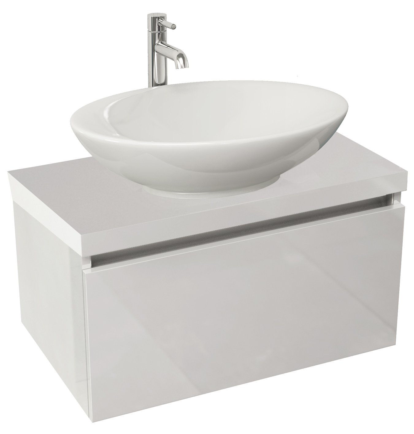 Pura Echo 600mm Wall Mounted Single Drawer Unit And Worktop