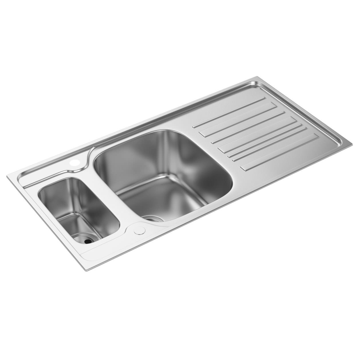 abode kyte 1.5 offset bowl stainless steel kitchen sink with drainer
