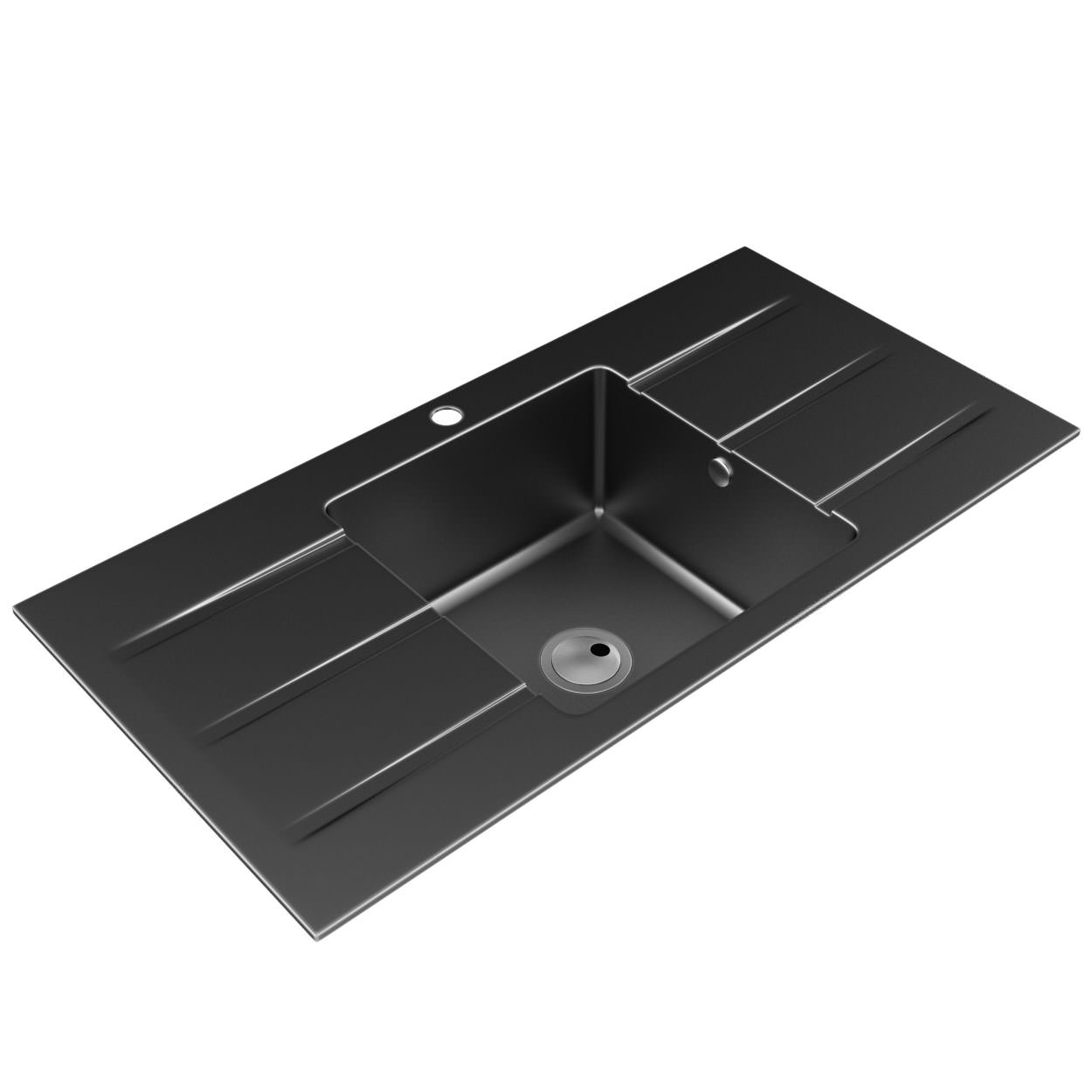 Abode Zero 1.0 Bowl And Double Drainer Black Metallic Granite Sink