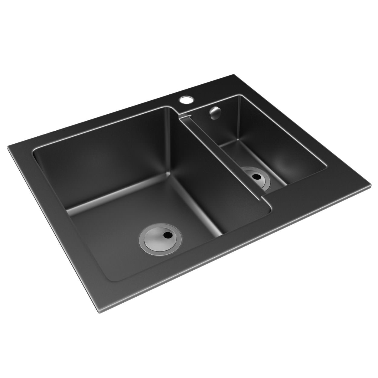 Abode Zero 1 5 Bowl Black Metallic Granite Reversible Inset Kitchen Sink