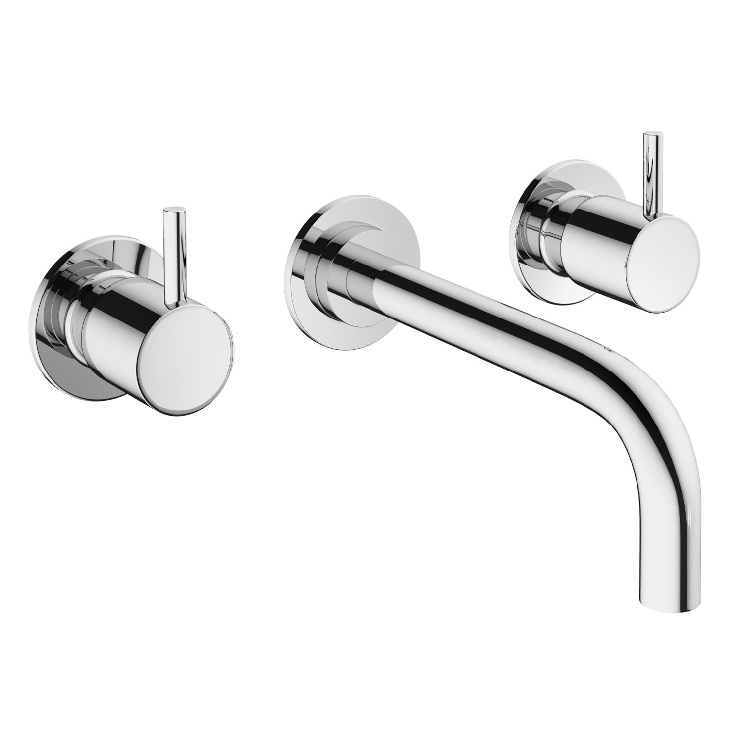 Mike Pro Wall Mounted Chrome 3 Hole Basin Mixer Tap