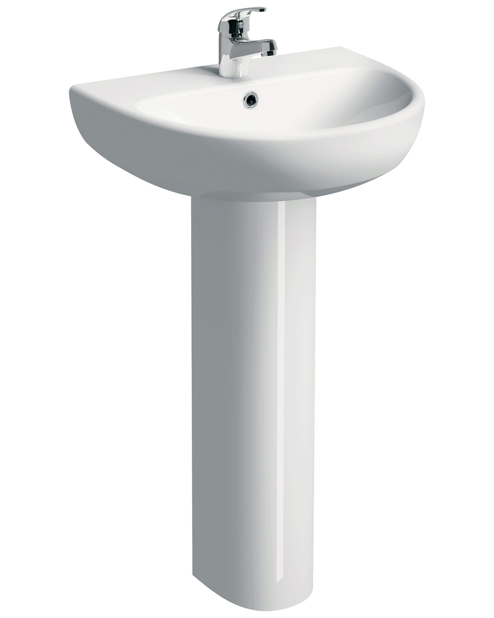 Twyford E100 Round 1 Tap Hole 600 X 480mm Washbasin With Full Pedestal