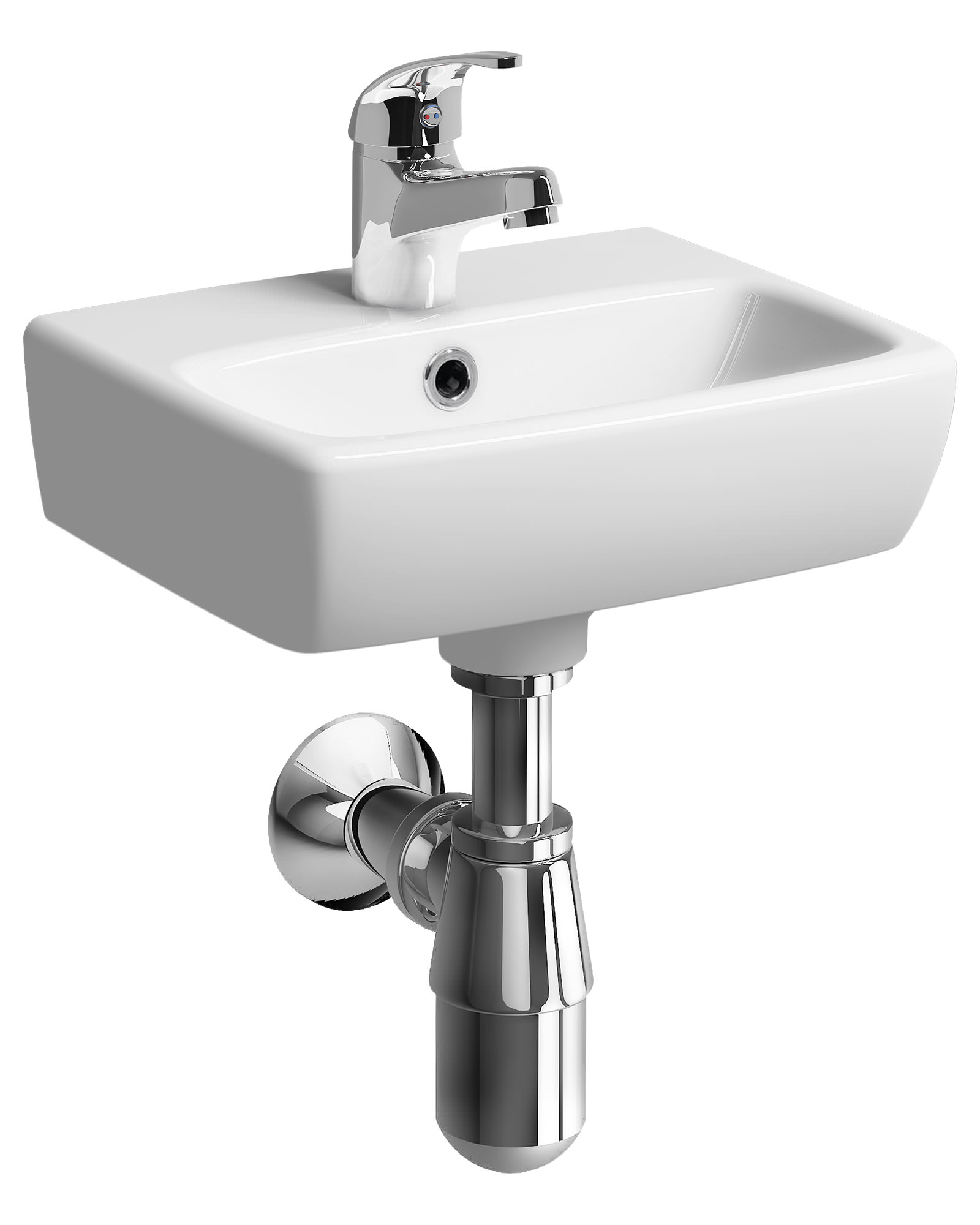 Twyford e100 square 1 tap hole 360 x 280mm handrinse washbasin for Small baths 1100