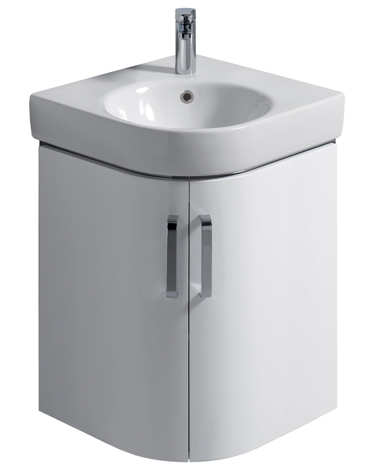 Twyford E200 Corner 690mm Cabinet And Handrinse 500mm Washbasin