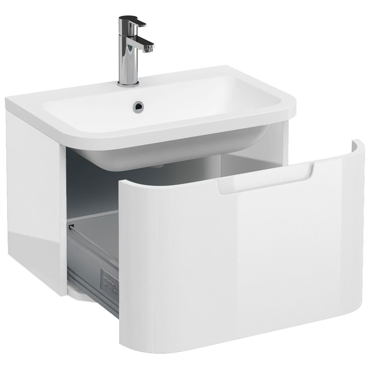bathroom sink vanity units. Britton Aqua Cabinets Compact White 600 1 Drawer Wall Hung Basin Vanity Unit