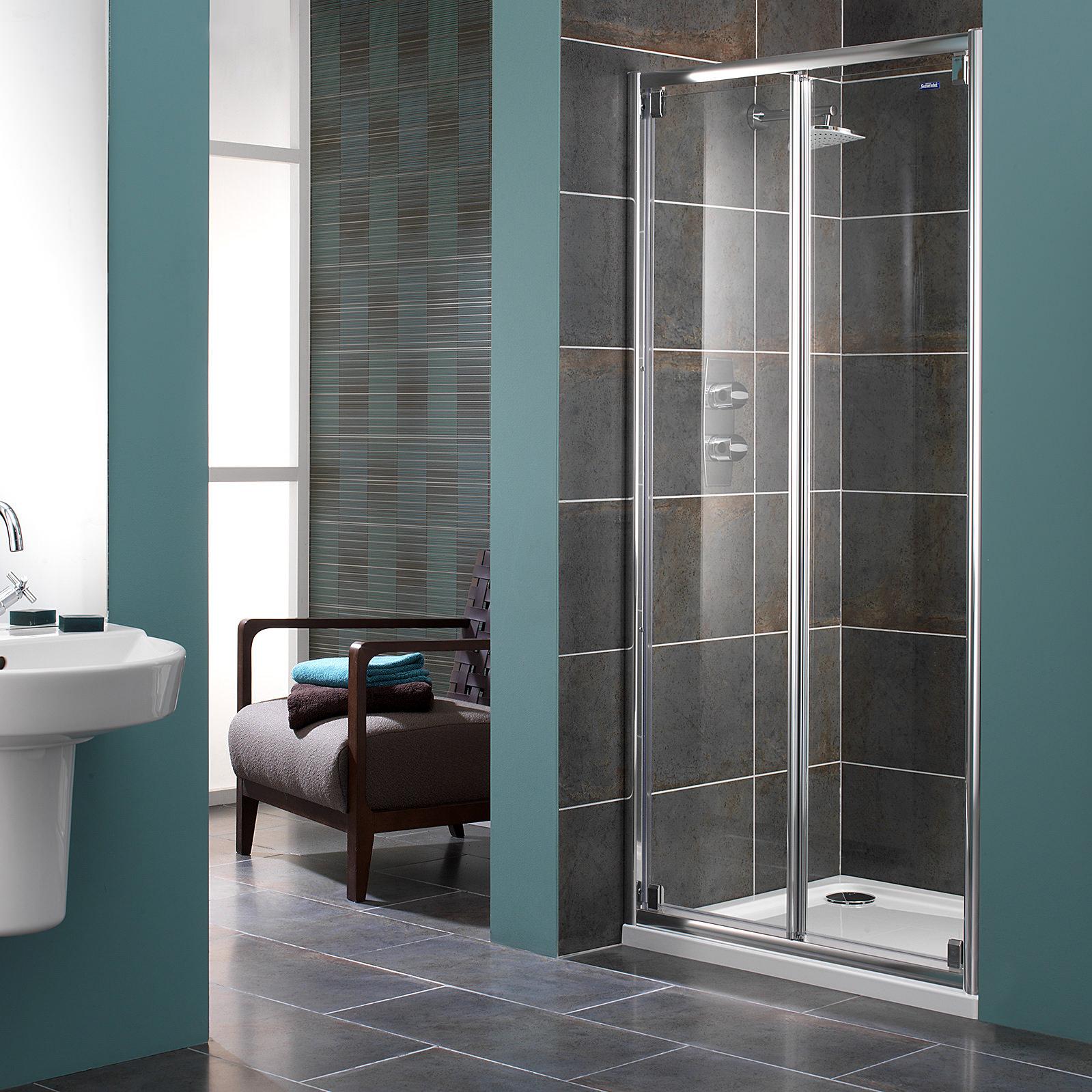 Showerlux Glide 8mm Clear Glass Bi-fold Shower Door 760mm & Glide 8mm Clear Glass Bi-fold Shower Door 760mm pezcame.com