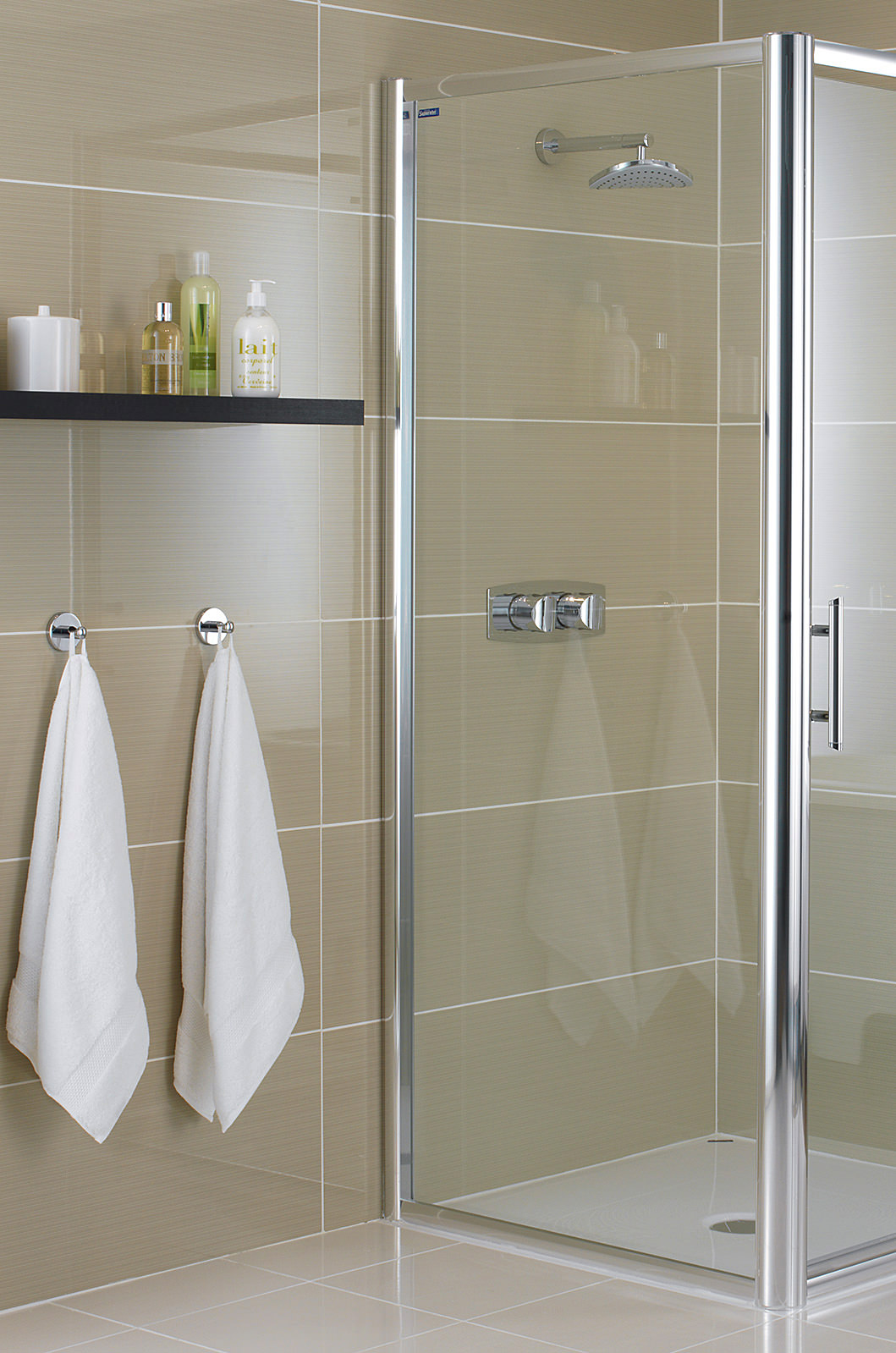 showerlux glide 6mm clear glass side panel 760mm
