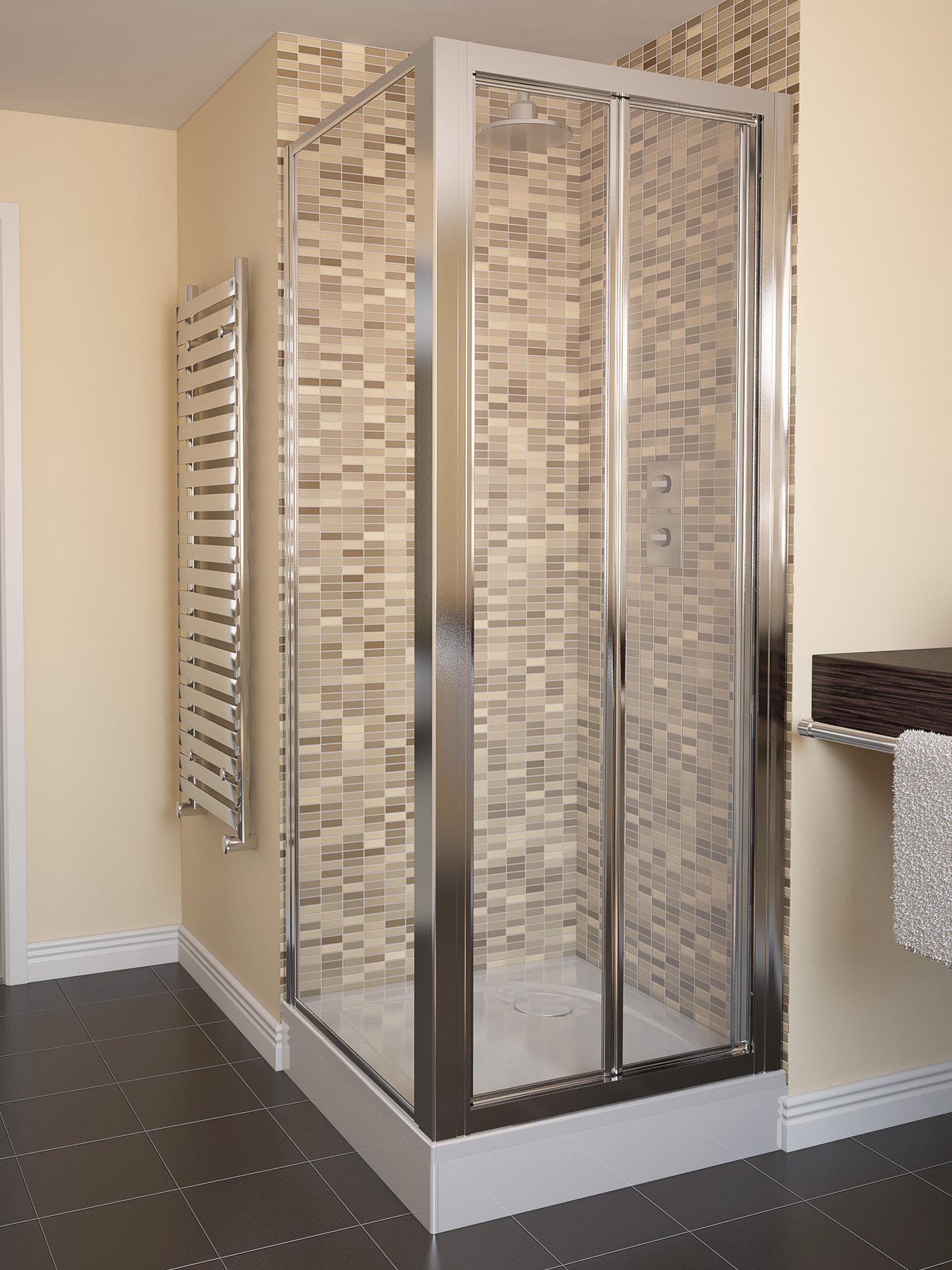 Aqualux Aqua 4 760mm Bi Fold Shower Door Polished Silver