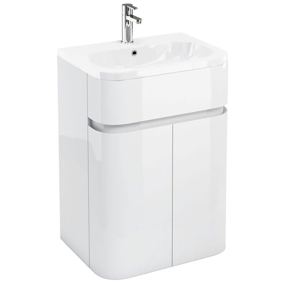 Britton aqua cabinets gullwing white 600mm floor unit with for Vanity sink units bathroom sale