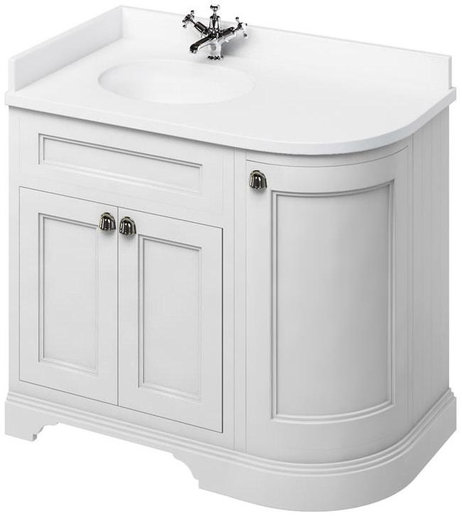 hot sale online 51172 82f56 Burlington 1000mm Freestanding Left Hand Curved Corner Vanity Cabinet