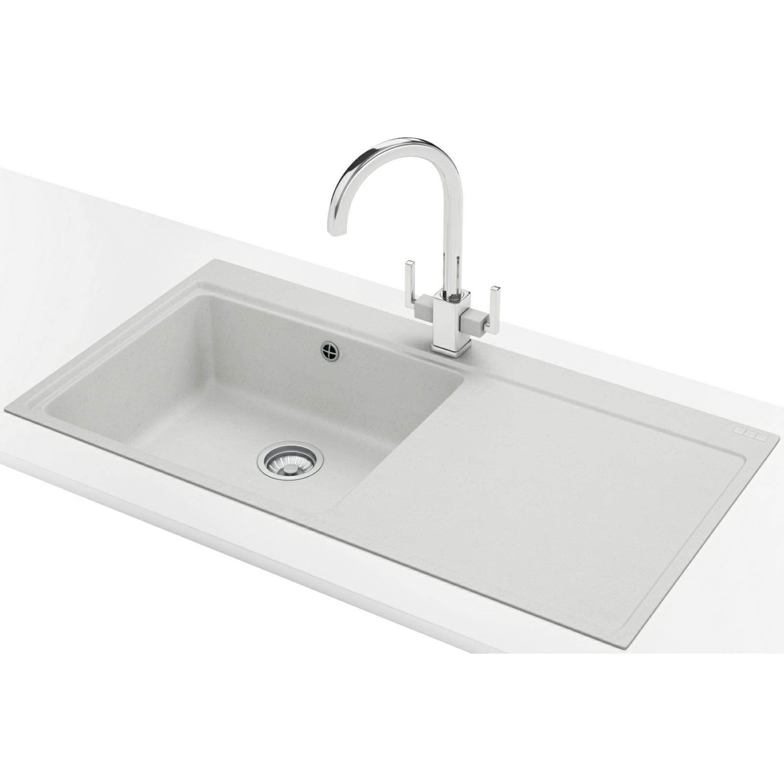 Franke Mythos Sink And Tap Pack : Franke Mythos MTG 611 DP-Fragranite White Right Drainer Sink And Tap