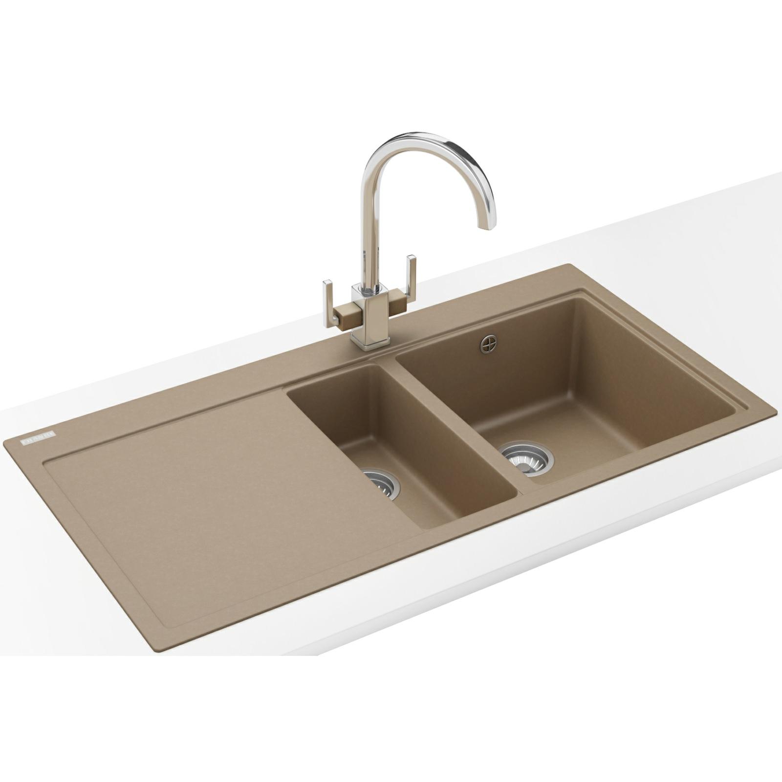 Franke Mythos MTG 651-100 Fragranite Oyster 1.5B LHD Sink And Tap