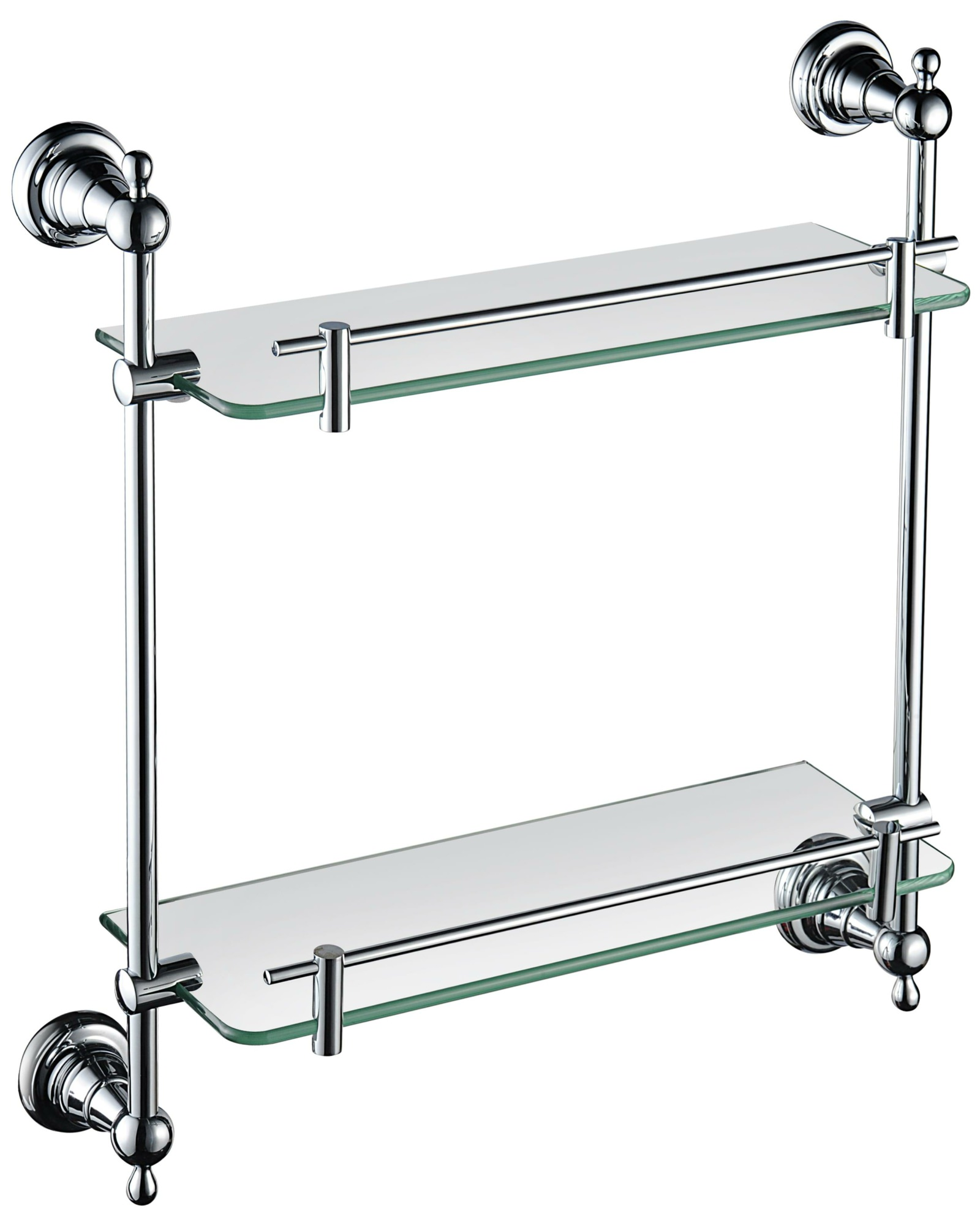 Heritage Holborn 410mm Double Glass Shelf With Chrome Brackets