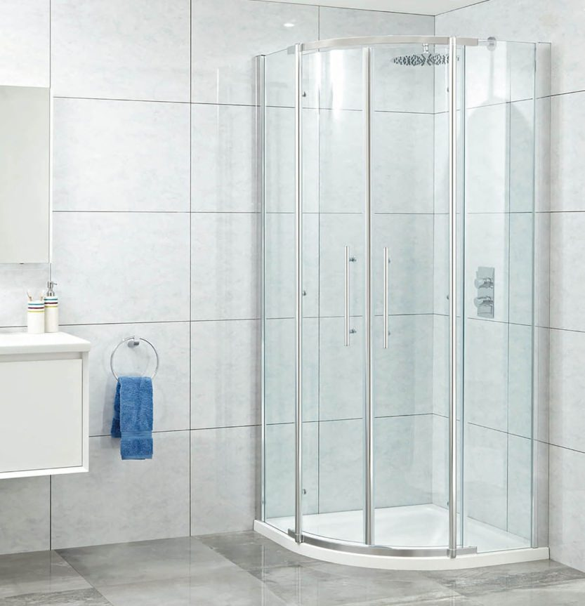 Phoenix elegance 1200mm x 900mm high polished twin offset for 1800mm high shower door