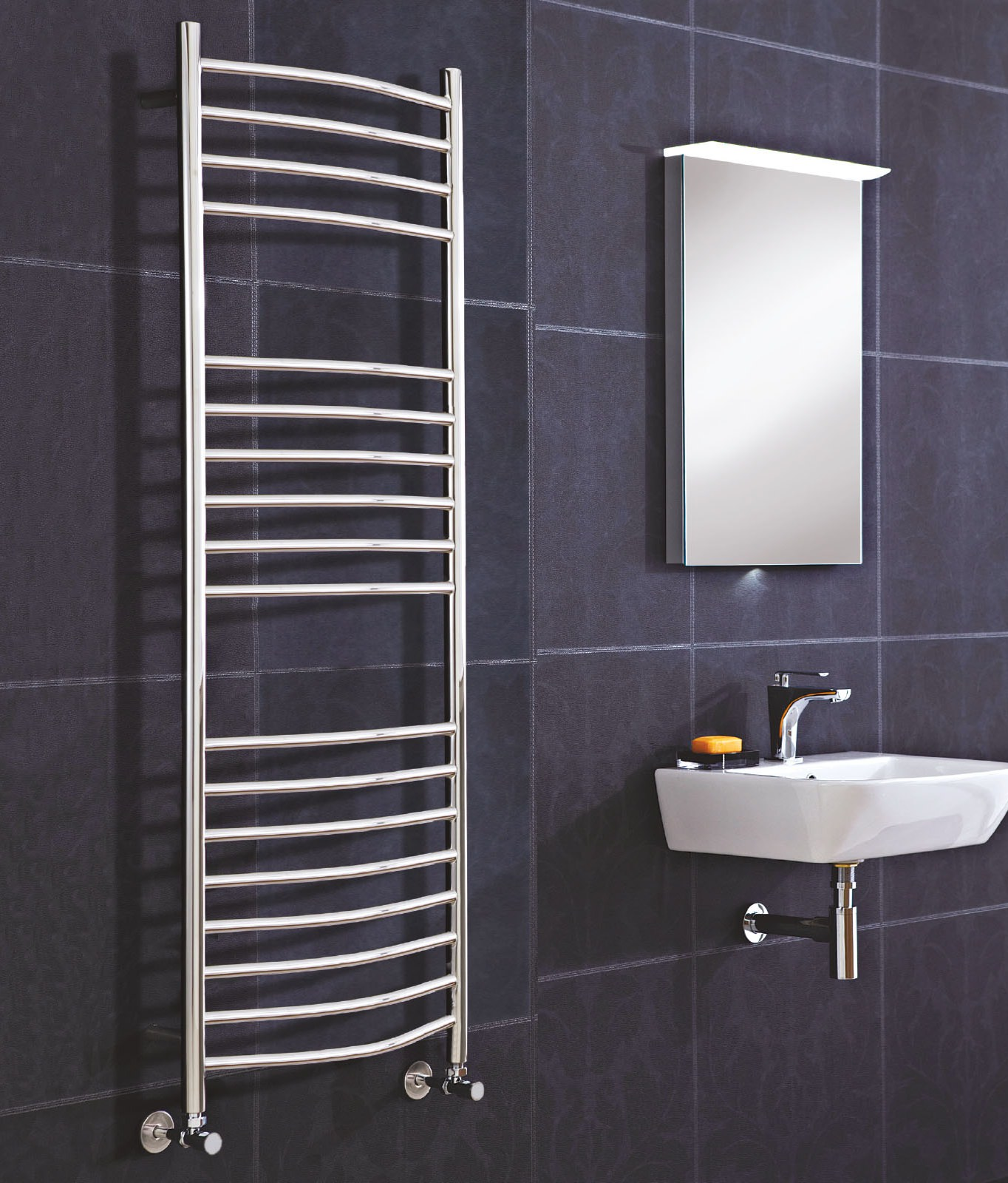 Stainless Steel Heated Towel Rail Radiator: Phoenix Thame 500 X 800mm Pre-Filled Electric Curved