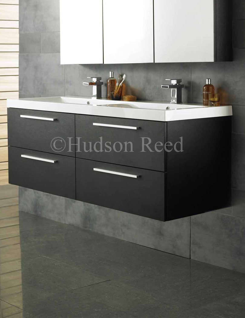 Hudson reed bathroom cabinets - Hudson Reed Quartet Black Wood Finish Wall Hung Vanity Unit And Basin