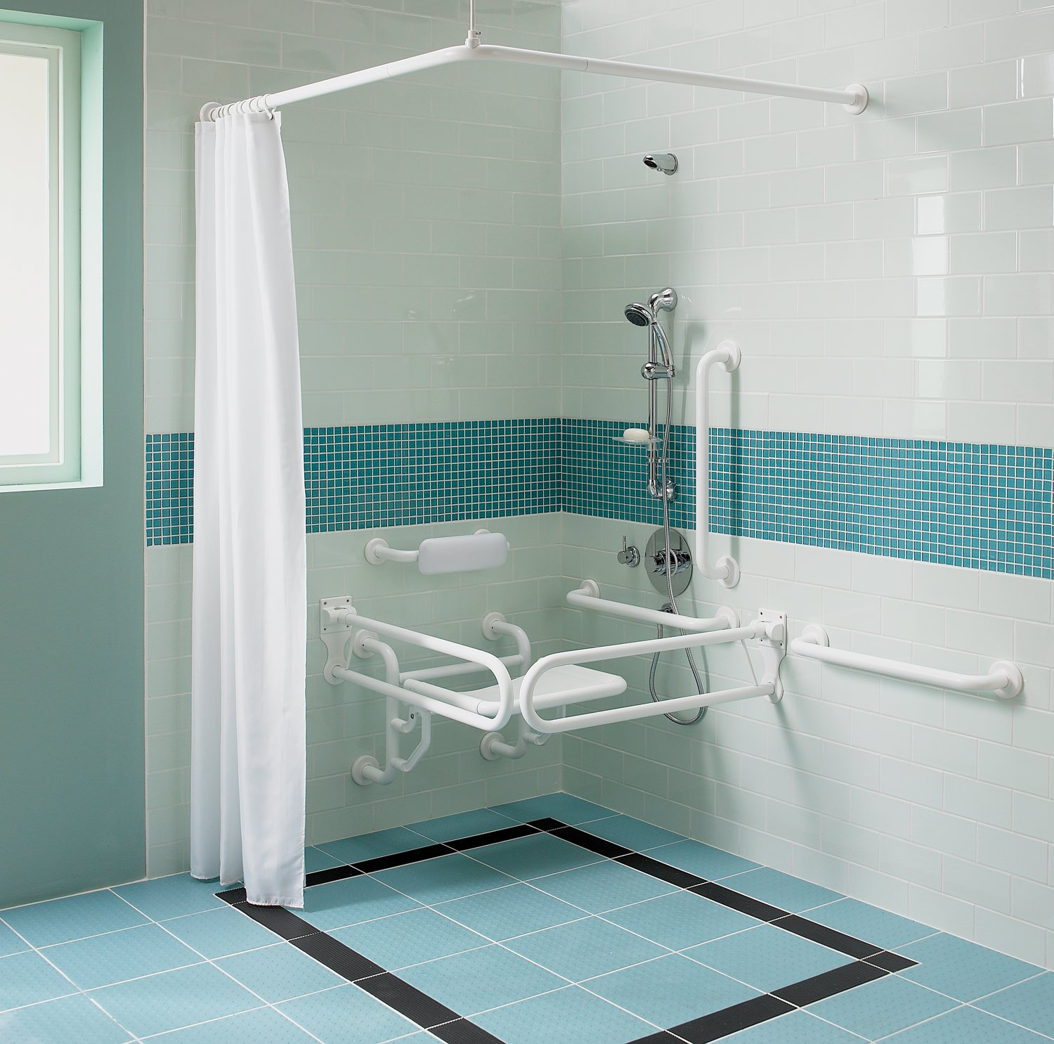 Twyford Doc.M Shower Pack With White Grab Rails And Seat