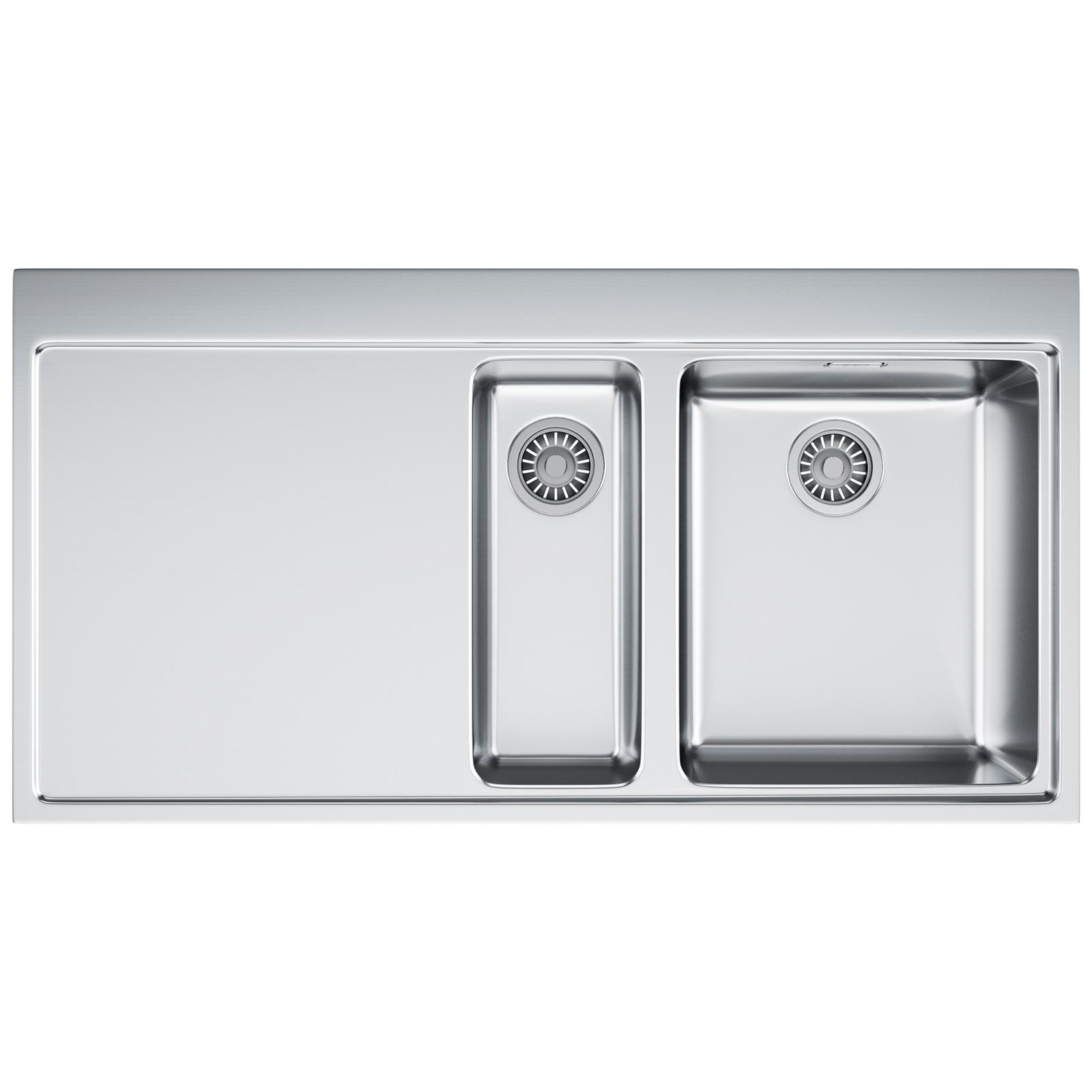 franke mythos mmx 251 stainless steel left hand drainer 15 bowl inset sink - Franke Sink