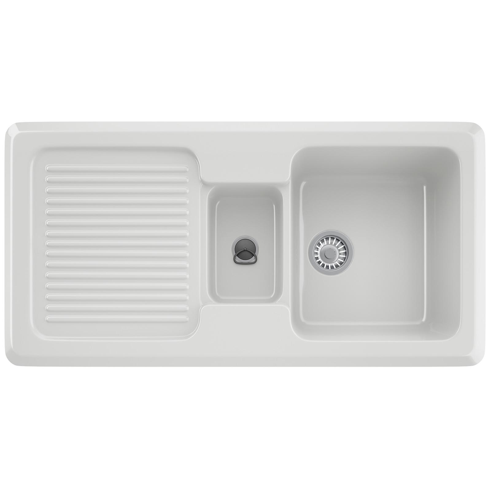 VBK 651 Ceramic Left Hand Drainer 1.5 Bowl White Inset Sink