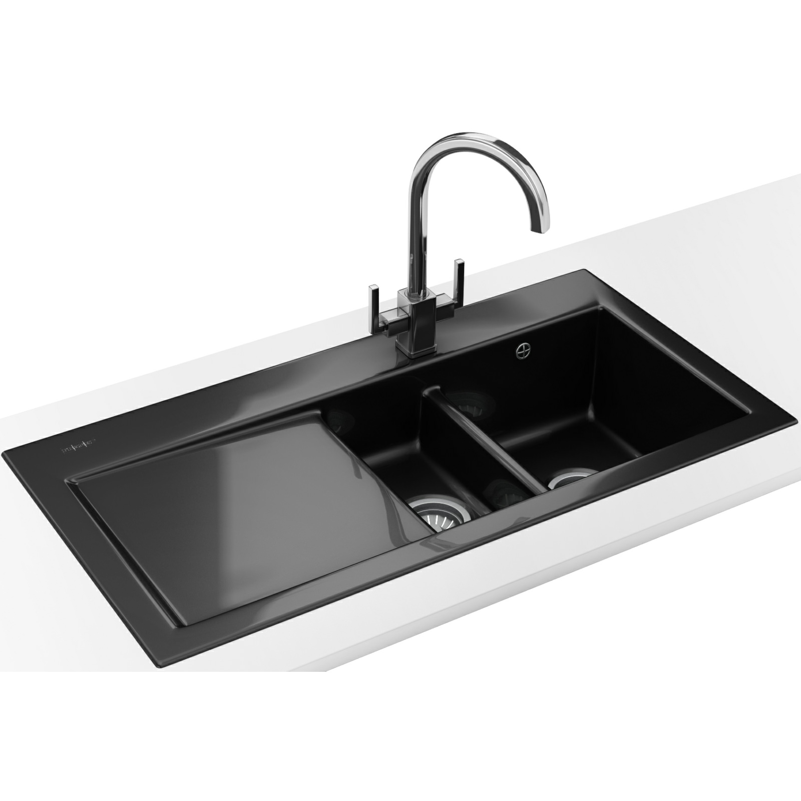 Franke Sinks And Taps : Franke Mythos MTK 651 DP - Ceramic Black Left Drainer Sink And Tap
