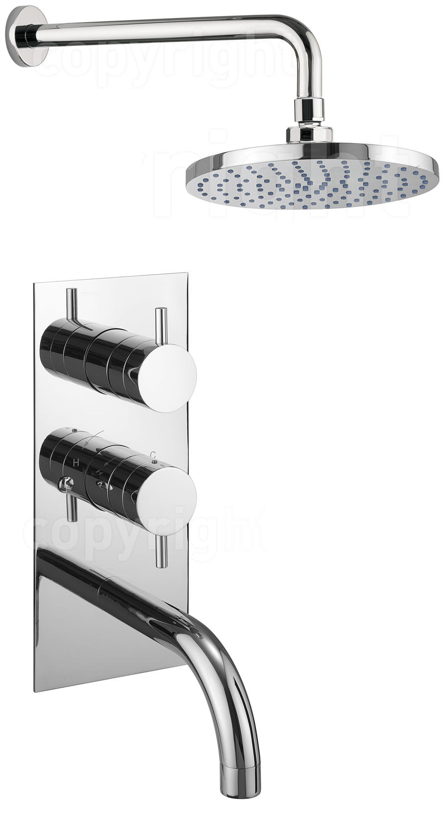 Crosswater Kai Lever Thermostatic Shower Valve With Spout And Head