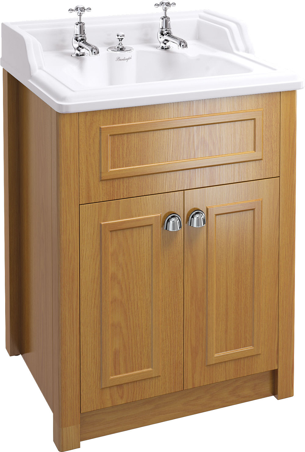 Classic basin with invisible overflow and oak vanity unit for Furniture 99 invisible