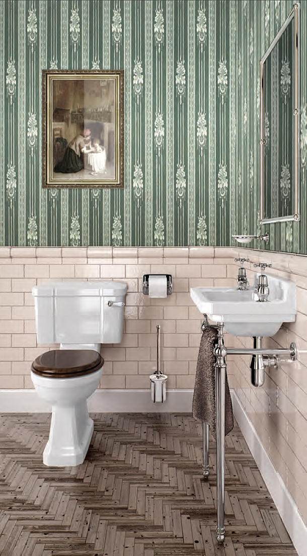 Burlington cloakroom slimline toilet and edwardian basin with stand - Sanitari bagno old england ...