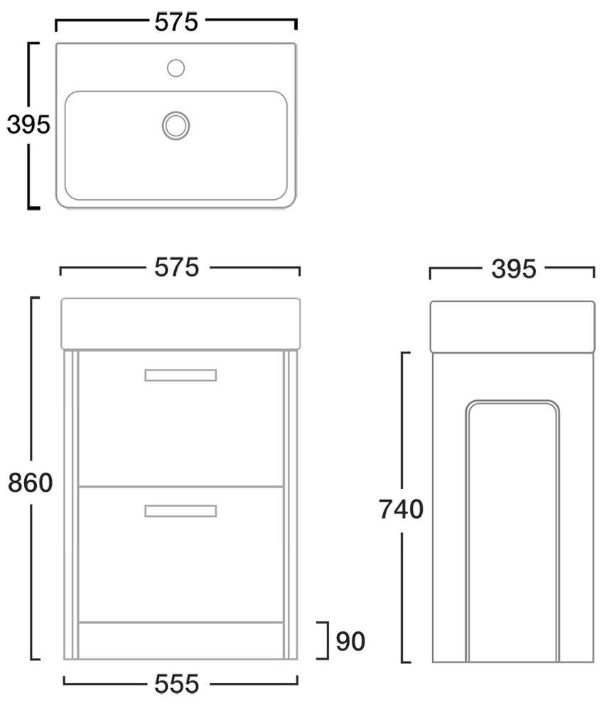 Tavistock Q60 575mm Double Drawer White Freestanding Unit With Ceramic Basin Q6fw Sb900s
