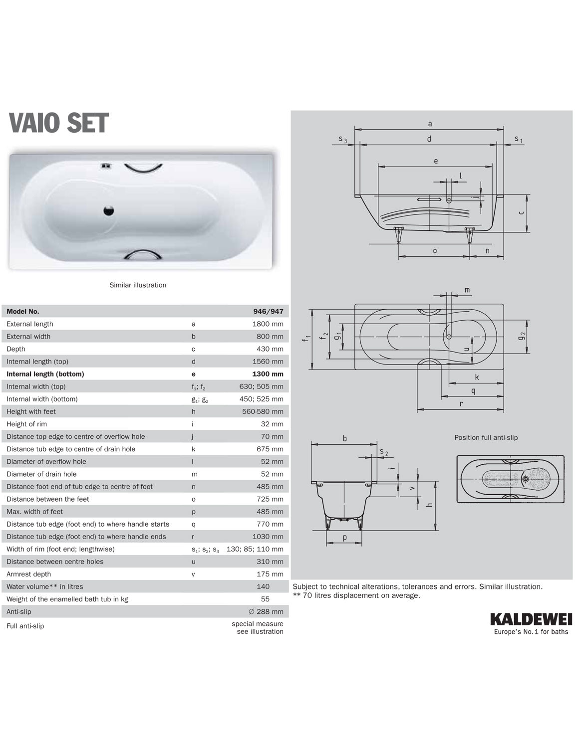 kaldewei ambiente vaio set 946 steel shower bath 1800 x 800mm shower bath 1800 x 800mm technical drawing 16607 234600010001