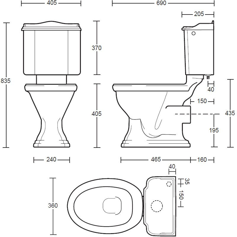 Imperial drift close coupled toilet pan and cistern for Bathroom dimensions