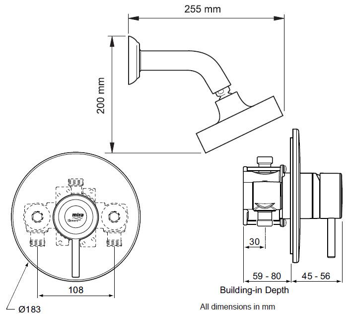 mira element bir built in rigid thermostatic mixer shower