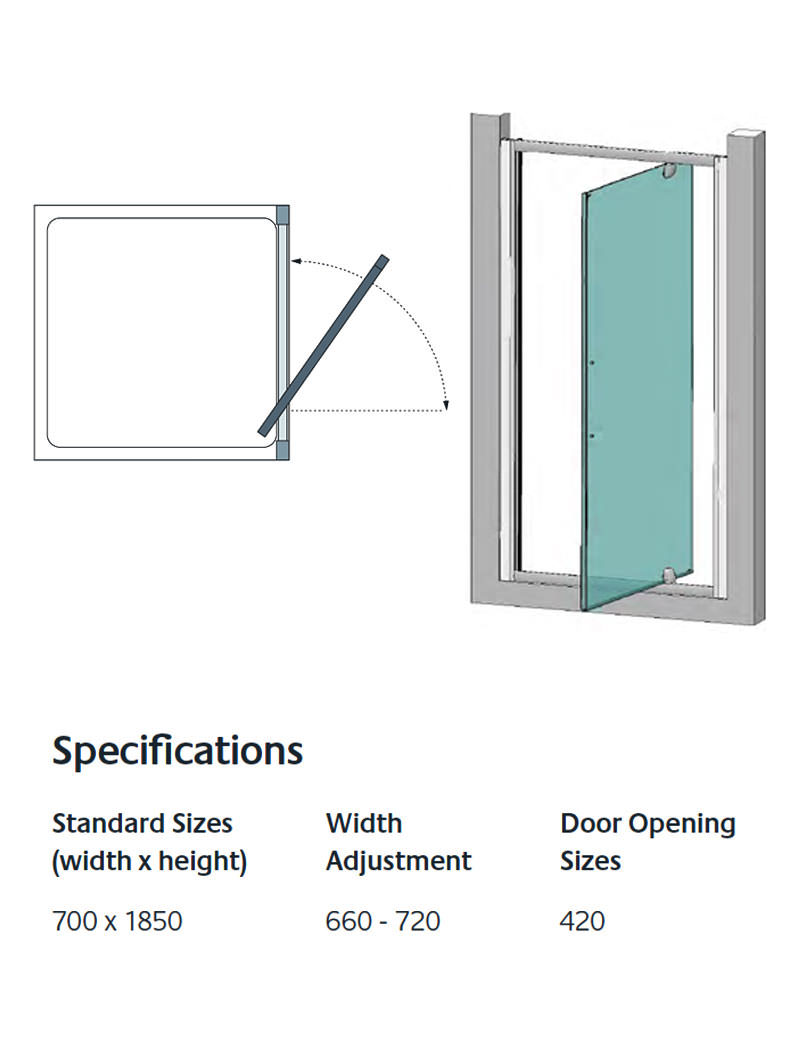 Lakes Classic Semi Frameless Pivot Shower Door 700 X 1850mm Silver