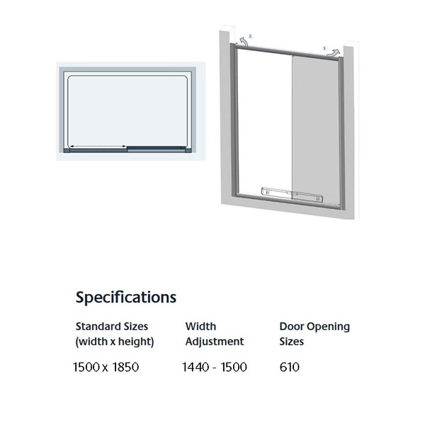 Lakes Classic Silver Semi Frameless Slider Door 1500 X 1850mm