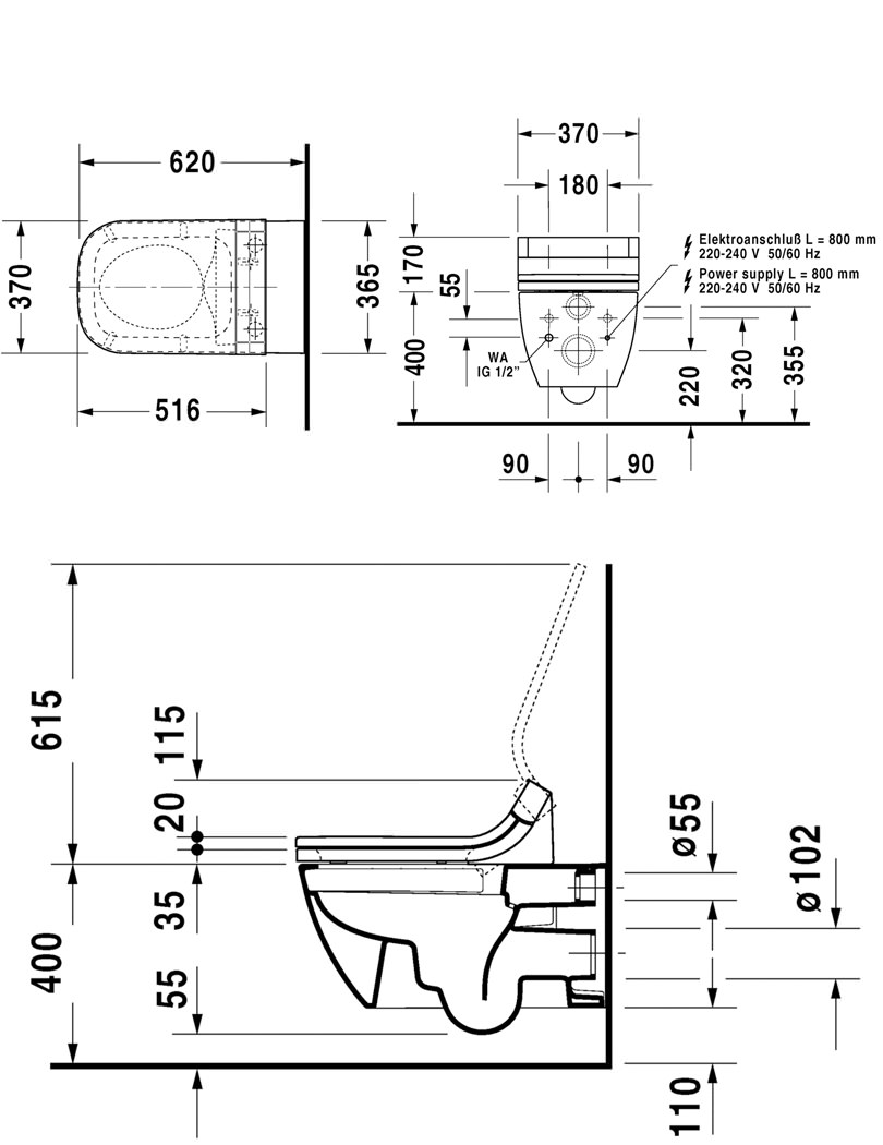 Duravit Happy D2 Wall Mounted Toilet With Sensowash Seat