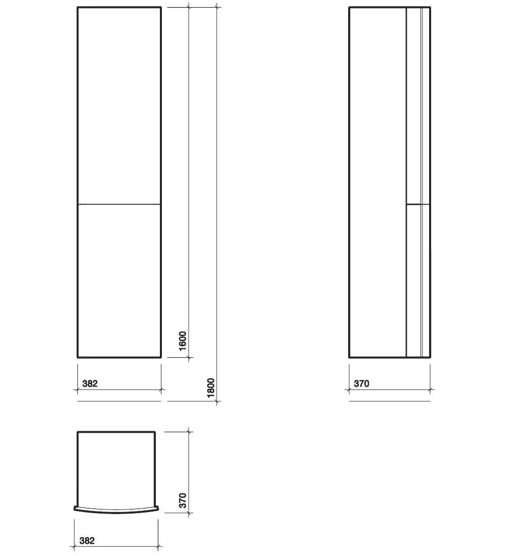 Twyford Moda 382 X 370 X 1600mm Teak Tall Furniture Unit