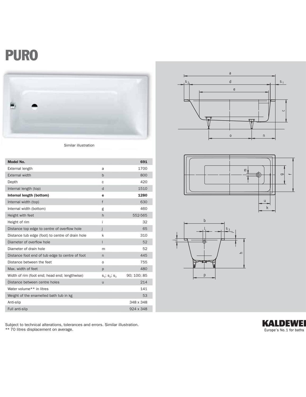Kaldewei Ambiente Puro 20 Single Ended Steel Bath 20 x 20mm.