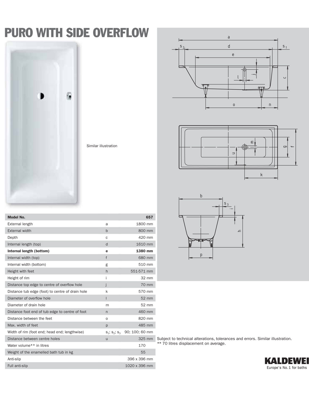 Kaldewei Ambiente Puro 20 Steel Bath 20 x 20mm With Side Overflow