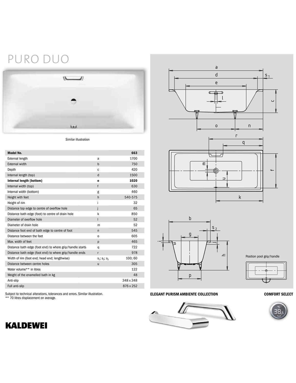 Kaldewei Ambiente Puro Duo 20 Double Ended Steel Bath 20 x 20mm