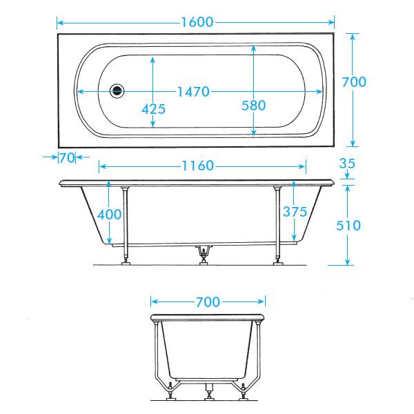 . Trojan Derwent Standard 5mm Acrylic Bath 1600 x 700mm