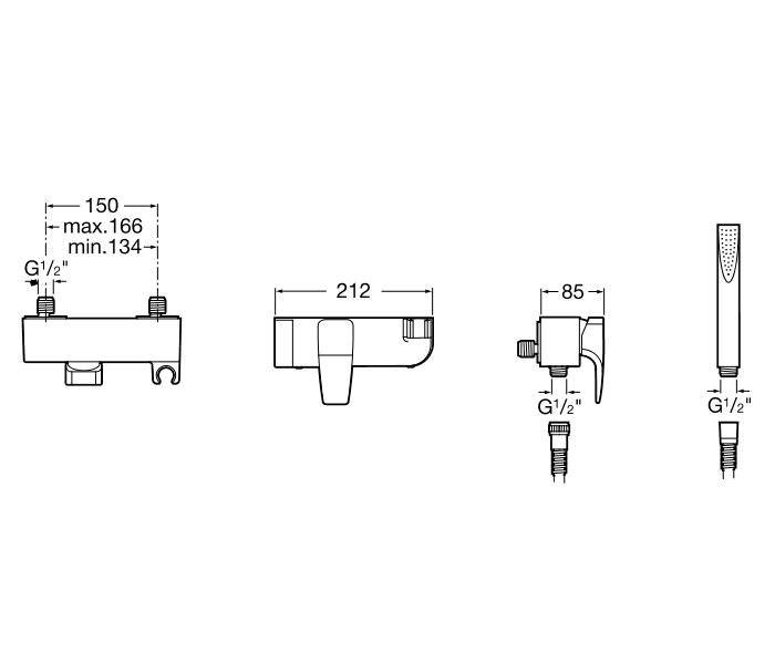 Roca thesis bath shower mixer