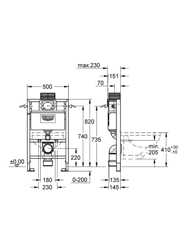 Hervorragend Grohe Rapid SL 2-In-1 Set for WC - Frame And Flushing Cistern HB92