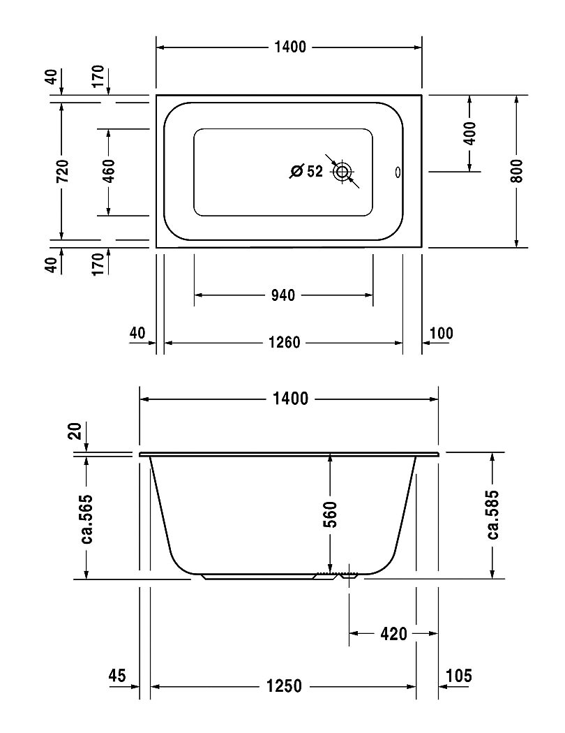 duravit durastyle 1400 x 800mm rectangular bath technical drawing 27370 700237000000000