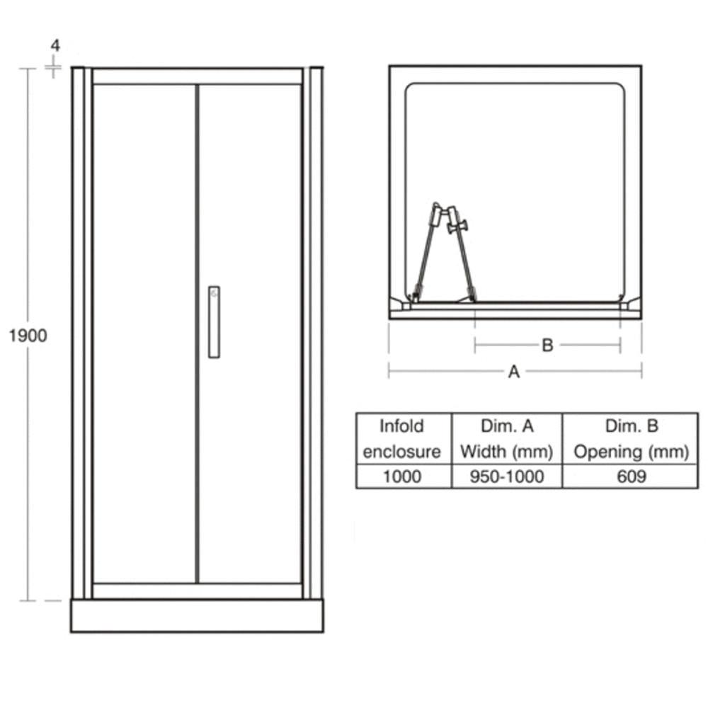 Ideal Standard Synergy 1000mm Infold Shower Door