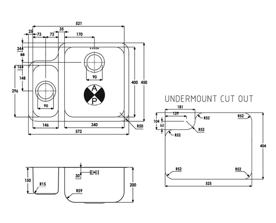 Abode Matrix R50 1 5 Bowl Undermount Rh Stainless Steel Sink