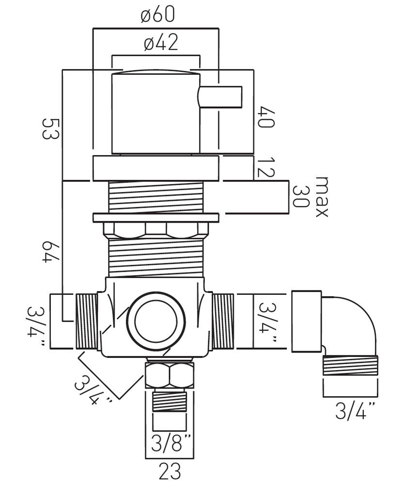 vado elements deck mounted concealed 2 way diverter valve