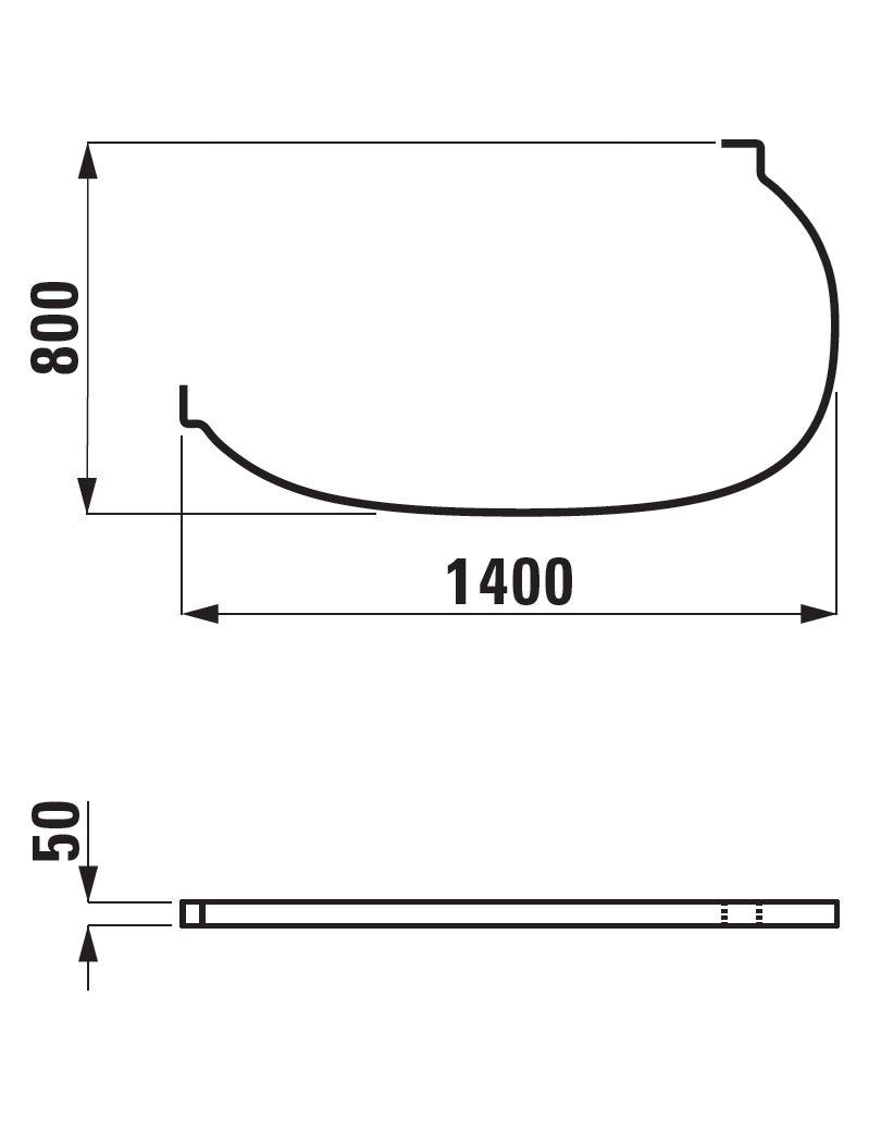 Laufen Mimo Shower Curtain Rail 1400 x 800 - Left Hand Corner