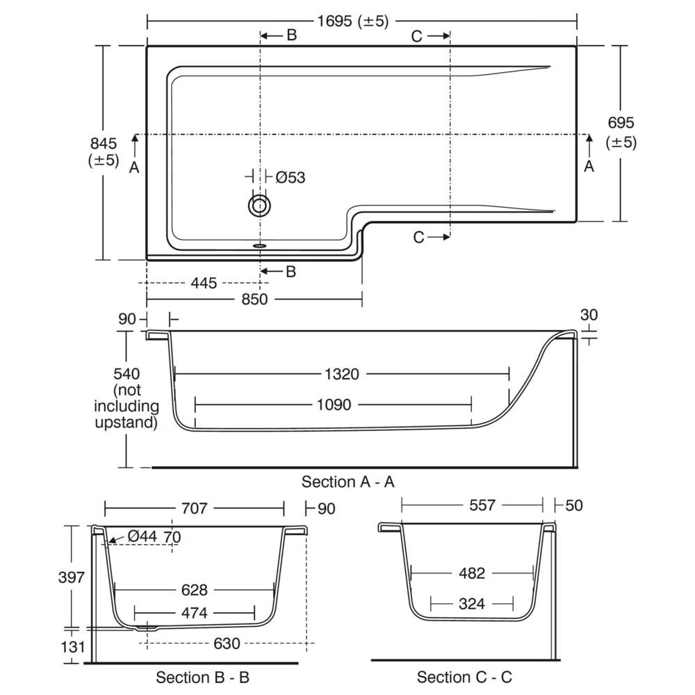 Ideal Standard Concept Idealform 1700mm Left Handed Shower